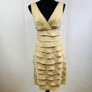 London Times Taupe Iridescent Tiered Dress